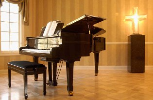 Piano on wood floor pattern