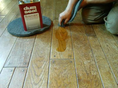 Solvent Applied To Remove Old Wood Floor Wax