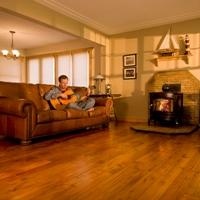 Reclaimed Warehouse Flooring in Cozy Living Room